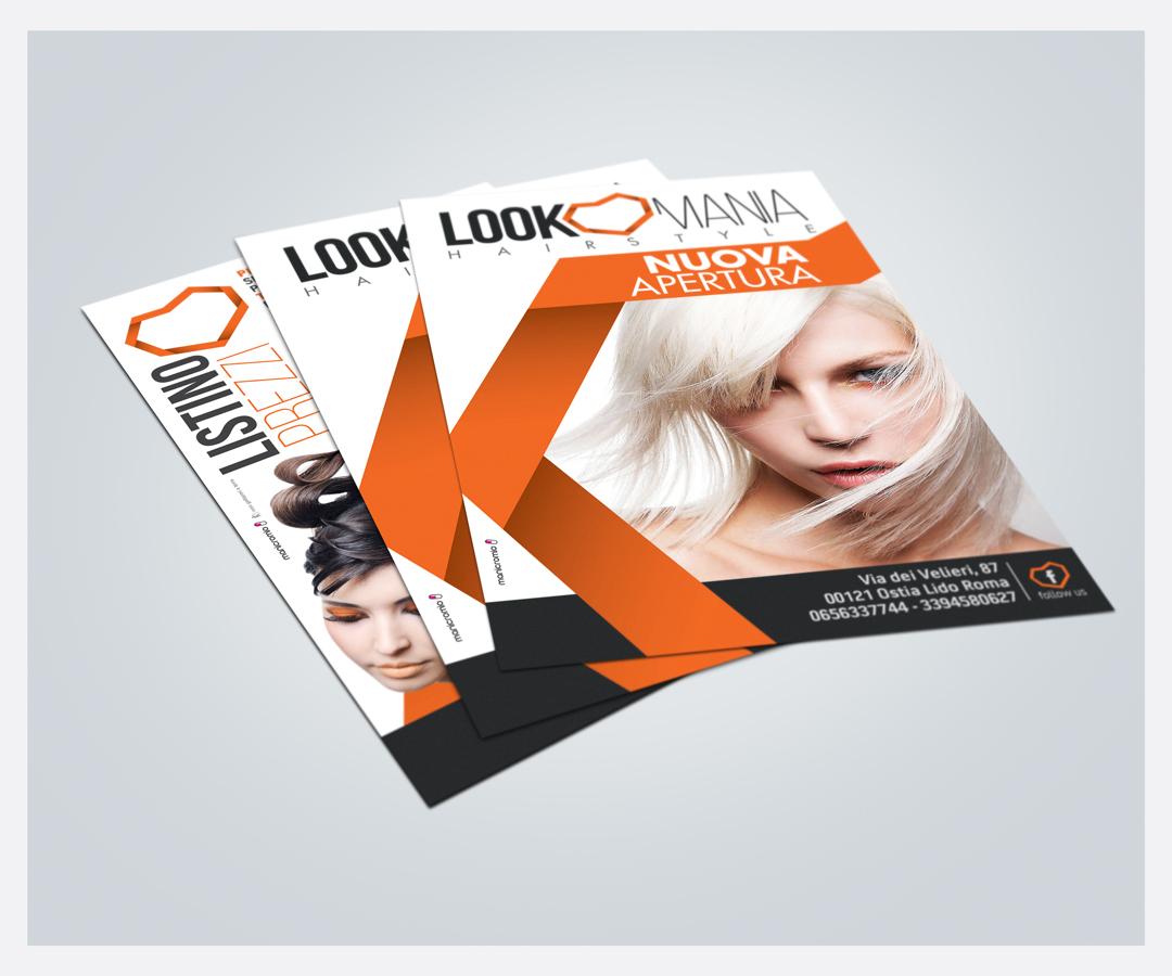 Manicromio | agenzia di grafica e stampa | ostia lido | Roma | web | look mania hair style parrucchiere logo ostia volantini flyer